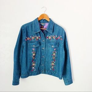 Vintage Pansy Embroidered Jean Jacket